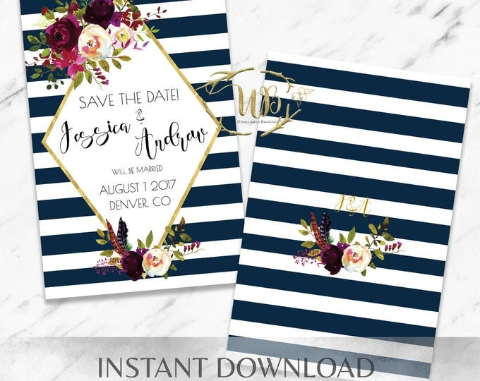 Featured listing image: Striped Marsala Save the Date - INSTANT Download