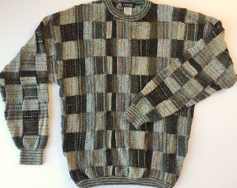 Tosani Canada textured sweater, XL vintage mens sweater, gray multi color textured sweater, tosani canada wool blend sweater, cosby sweater