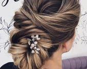 Crystal hair pins Dainty hair pin set of 3 Summer wedding hair piece Simple hair accessories Bridal hair piece Silver hairpin Prom headpiece