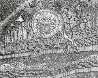 Visionary Cosmic Drawing Giclée Print (LIMITED EDITION/Signed) 'Primordial' 2017
