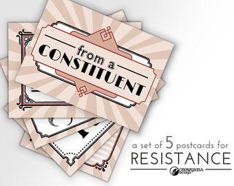 Postcards for Resistance—set of five cards for Congress Representatives Senate democracy resist representation antifa justice equality truth