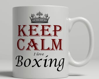 Boxing coffee mug, KEEP CALM boxing gift idea, boxer mug, boxing fan mug, boxer coffee mug, boxing mug, keep calm boxer, Keep Boxing