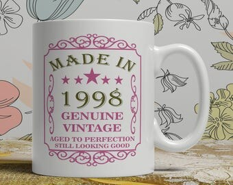 20th Birthday mug, 20th birthday idea, born 1998 birthday, 20th birthday gift, 20 years old, genuine vintage, Happy Birthday, EB 1998 Rose