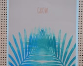 Palm Leaves teal on pink A3 signed print