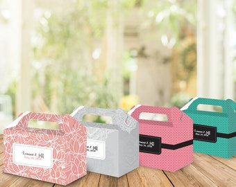 4 Printed Gable Boxes, Wedding favors, Bridal shower favors, custom wedding favor, personalized favors, party favors, birthday, baptism