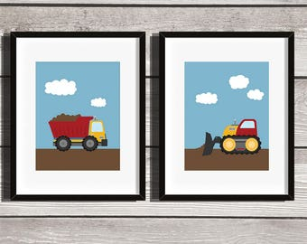 Construction Kids Wall Art Print Set - Instant Download 8x10 - Trucks, Digger, Dump truck, Tractor, Nursery, Boys Bedroom,