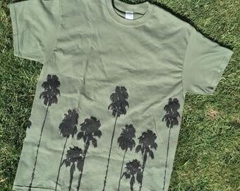 Palm Trees Shirt - Olive Green Shirt - Green Shirt - Cotton Shirt - Palms Design