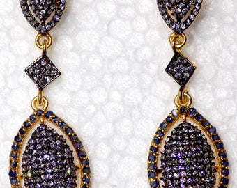 Sapphire Blue and Zircon Earring in Sterling Silver .925 Yellow Gold Rhodium