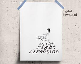 Gift for Traveler Print Download, Inspiring Printable Traveler Gift, Direction Quote Black White, Inspiring Wisdom Affiche Blanc et Noir