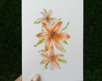 Hand Drawn Card (Handmade), Tiger Lily Card, Flower Card, Tiger Lily Stationary, Flower Stationary