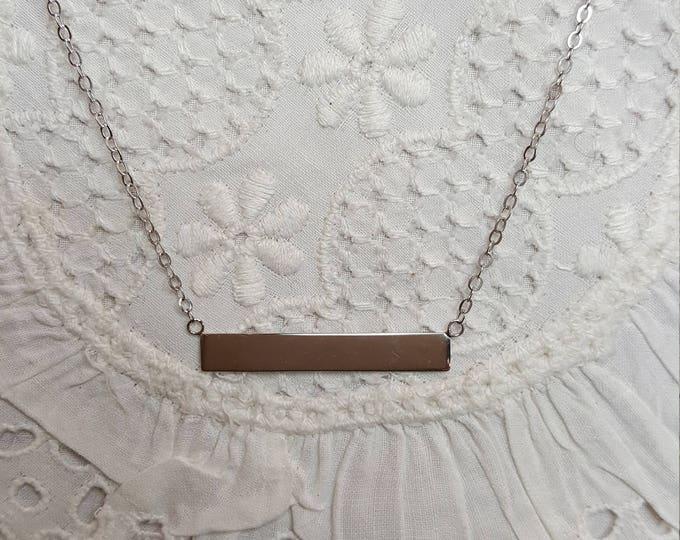 14K White Gold Bar Station Necklace QVC Minimalist Chain