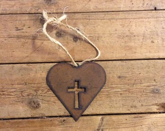 Rusty heart with cross Ornament, gift tag, mirror hanger