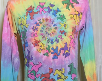 Vintage 1980's  Grateful Dead Spiral Dancing Bears Long Sleeve Tee Shirt
