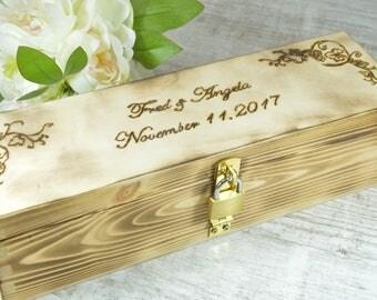 Custom rustic wood wine box, wedding memory or love letter box, wedding wine box ceremony, wooden wine crate, housewarming anniversary gift