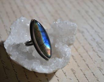 Large Labradorite ring/ sterling silver ring/ size 7 1/4