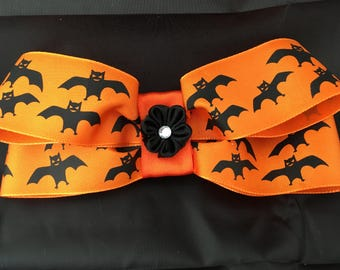 Halloween bat bow kanzashi hair barrette clip
