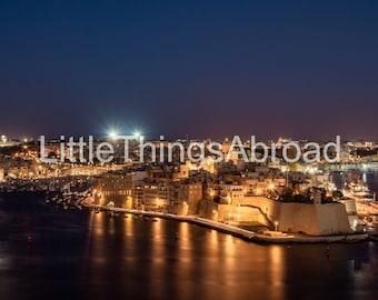 Valletta cityscape photo on canvas, Malta, night landscape, high resolution, printable travel photography, digital art, giclee, print