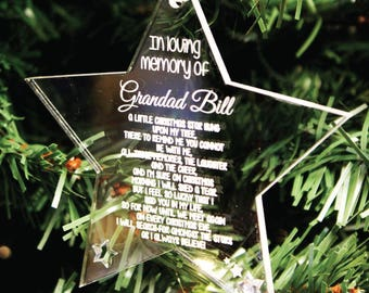 Personalised Loving Memory Christmas Tree Decoration | Engraved Acrylic Star Bauble Gift