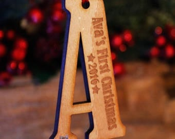 Personalised Initial Wooden First Christmas Tree Decoration | Engraved 1st Christmas Letter Bauble Gift