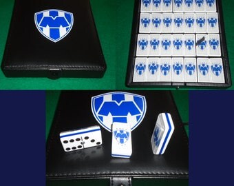 Rayados de Monterrey Dominoes Game Set Double Six Domino Party Gift Man Cave Bar Home Restaurant Cantina Tavern Pub Family Game Futbol Game