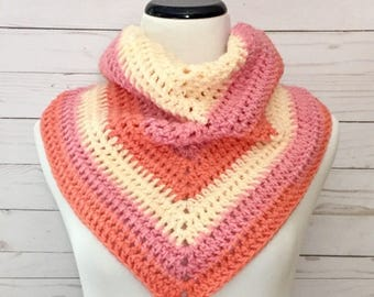 Peaches and Cream Shawl, crochet shawl, crochet wrap