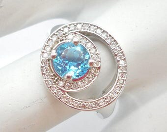 Topaz Ring, Blue Topaz Ring, Topaz and Diamond, Gold Ring, 10k White Gold Blue Topaz & Diamond 1.25 CTW Ring ~ Sz 6.5 ~ #07