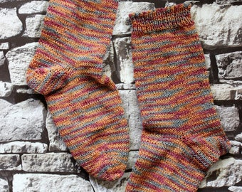 UK Size 8-10 Cotton/Wool Hand Knitted Socks