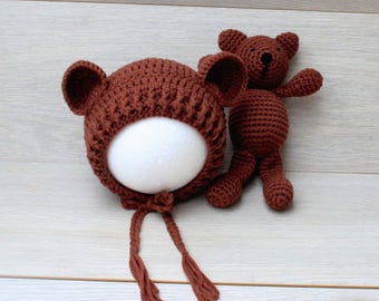 Chestnut Brown Newborn Bear Bonnet & Teddy Bear Cuddle Buddy Set