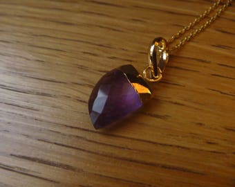 tooth 24K gold plated Amethyst stone necklace