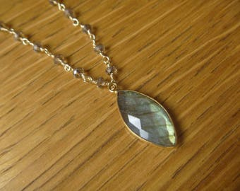 labradorite and beaded chain necklace