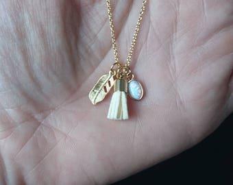 raindrop opalite, feather and tassel: necklace