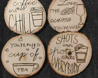Wooden Tree Stump Coasters