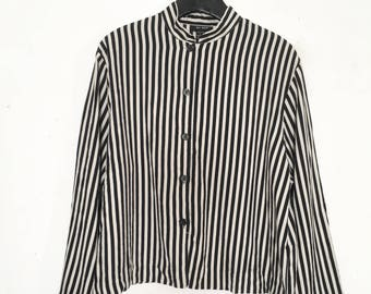black and white striped silk shirt
