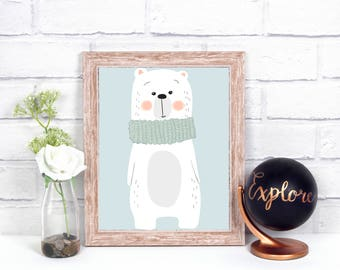Little bear wall art, kids room, nursery room, Christmas time