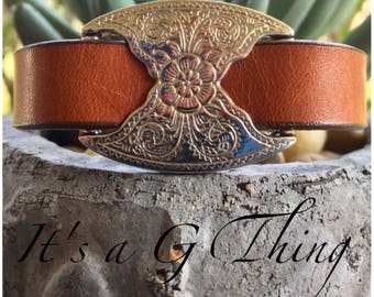 Floral Brown Leather Cuff