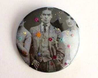 "Frida Kahlo Glitter Pin - Handmade 2.25"" Pinback Button - Frida Kahlo dressed as a Man - Celebrity Glitter Buttons by J. Sayuri"
