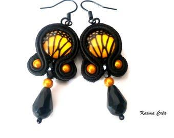 Yellow butterfly   braid earrings
