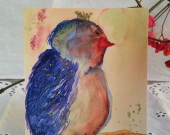 Card postcard No. 1 Blue Bird