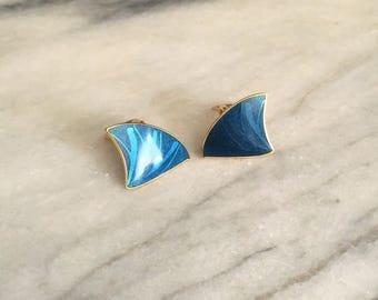 Vintage Enamel Clip On Earrings / Isle of Skye Earrings
