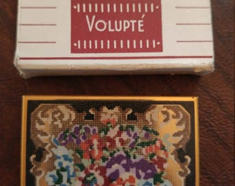 Vintage Unused Volupte Mirror/Powder Compact, Gold Tone Metal With Floral Pattern, Faux PetitPoint/Cross Stitch Design