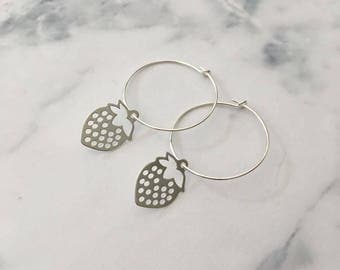 Sterling Silver hoop earrings with Strawberry charms