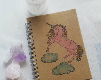 Unicorn notepad, craft style notepad, A6 notebook, unicorn notebook, watercolour notebook, notepad, painted writing pad, journal, jotter