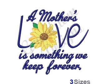 Mothers Love Sunflower - Machine Embroidery Design