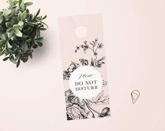 Do Not Disturb, Privacy Please Door Hanger - Blush Rose - Instant Download