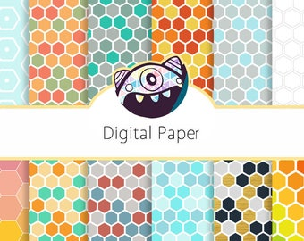 Honeycomb Digital Paper: Honeycomb Patterns, Printable Honeycomb Backgrounds, Honey Comb Scrapbook Paper, Hex Pattern, Hexagon Pattern DG29