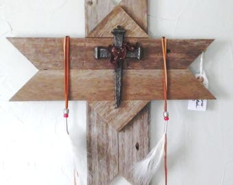 Wood Cross Rustic Western Design with Native Flair