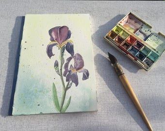 Purple IRIS - signed original watercolor - 27 x 18 cm