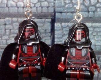 Darth Revan Earrings Hypoallergenic Minifigure Mini Figures Geek Titanium Drop Nickel-Free Dangle Star Wars KotOR Old Republic Con Gift Leia