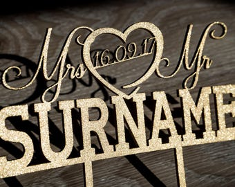 MR & MR** Custom Personalised Wedding Cake Topper - Surname with Date - Block Letter Surname