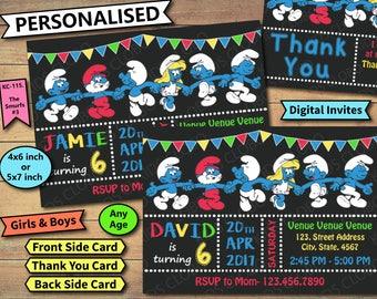 Smurfs Invitation, Smurfs Birthday Invite, Smurfs Birthday Invitation, Smurfs Birthday Party Invite, Smurfs Party Printable, The Smurfs